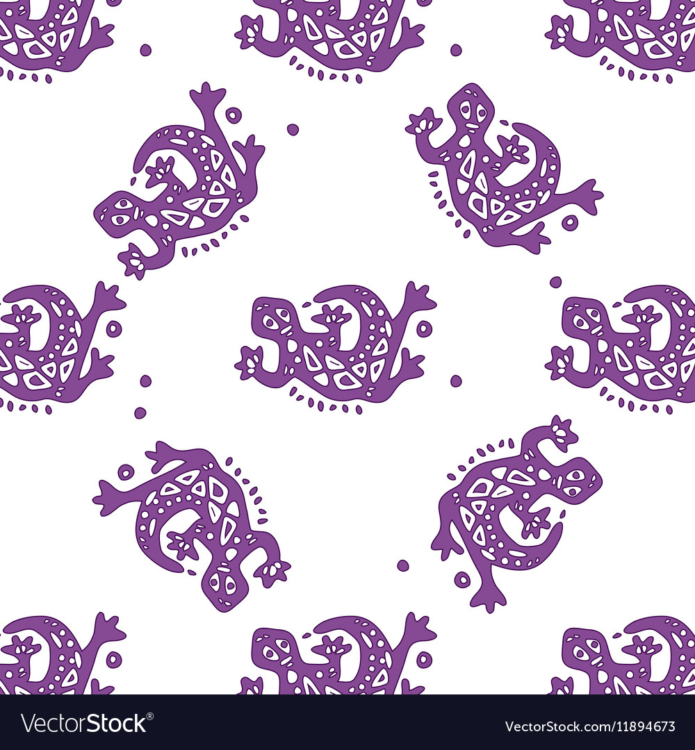 Seamless pattern with lizards tribal