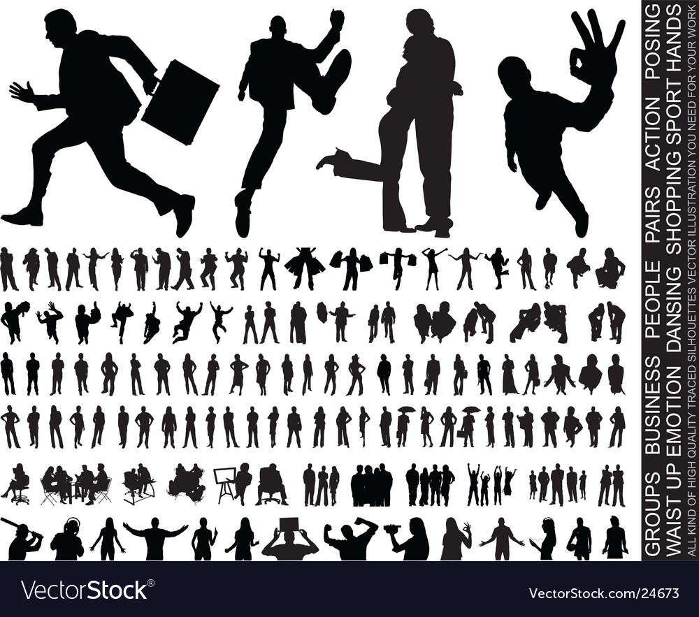 Silhouettes huge collection vector image