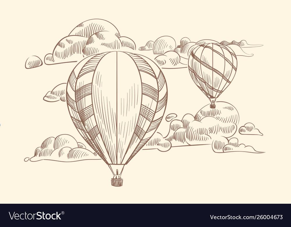 Sketch air balloon in clouds flight travel air