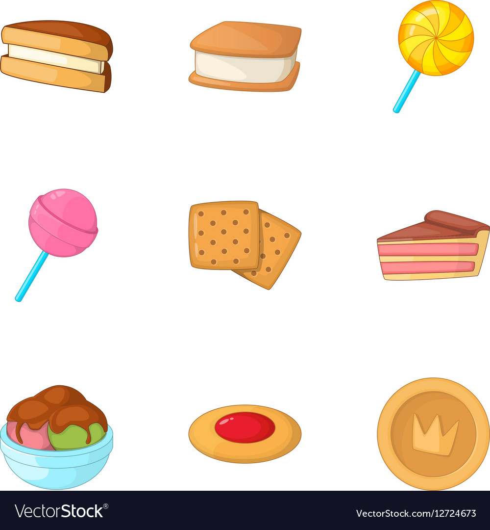 Sweet bakery icons set cartoon style
