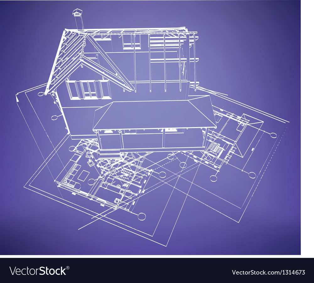 Wireframe building over blueprint royalty free vector image wireframe building over blueprint vector image malvernweather Images