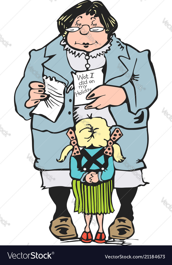 Woman teacher holding test and student cartoon