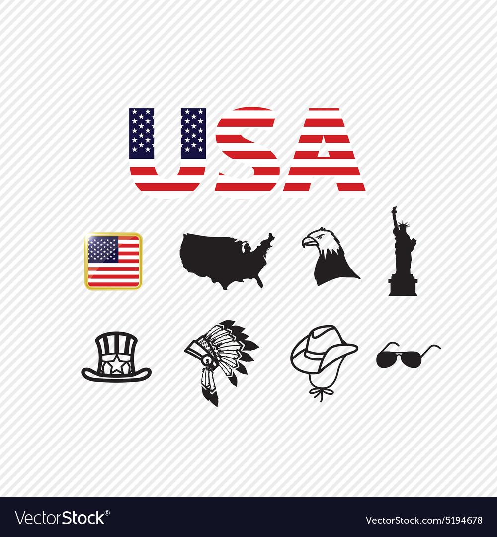 America icons set vector image