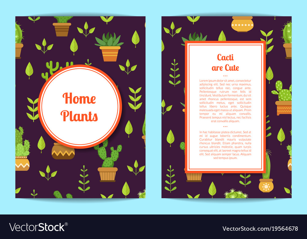 Card template with lettering cacti in pots