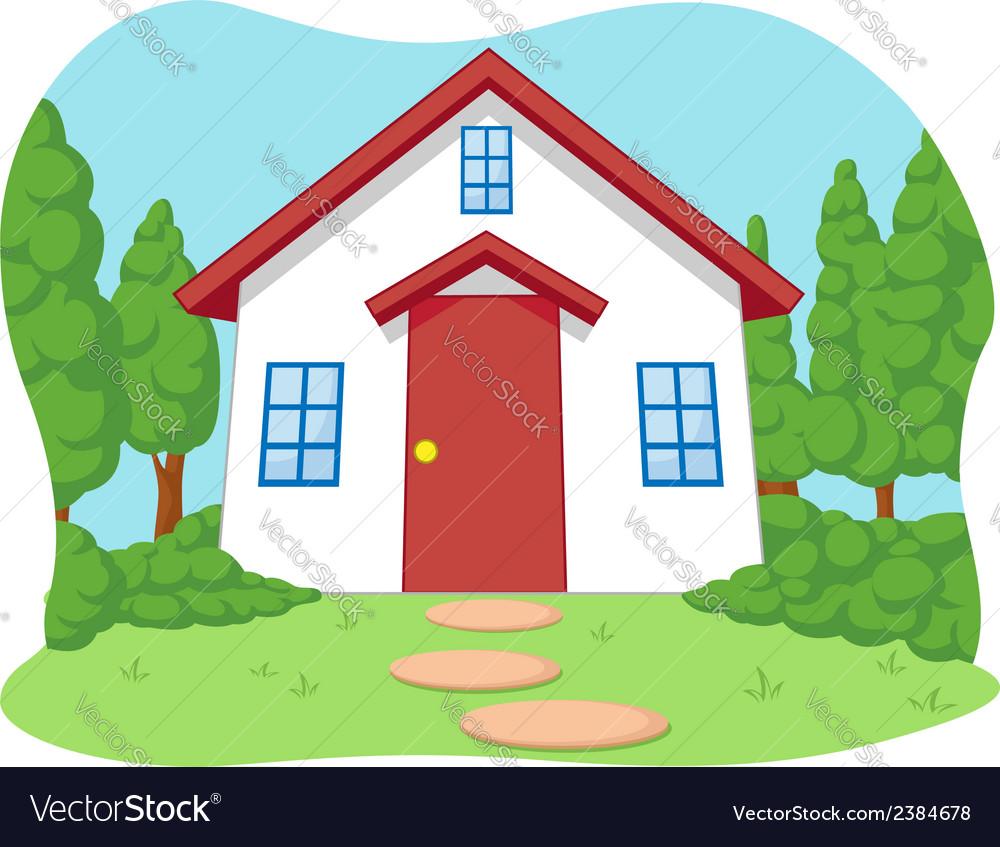 Cartoon Of Cute Little House With Garden Vector Image