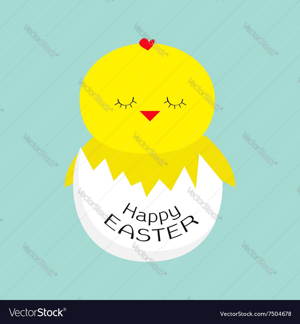 Easter sleeping chiken Egg shell Baby background vector image