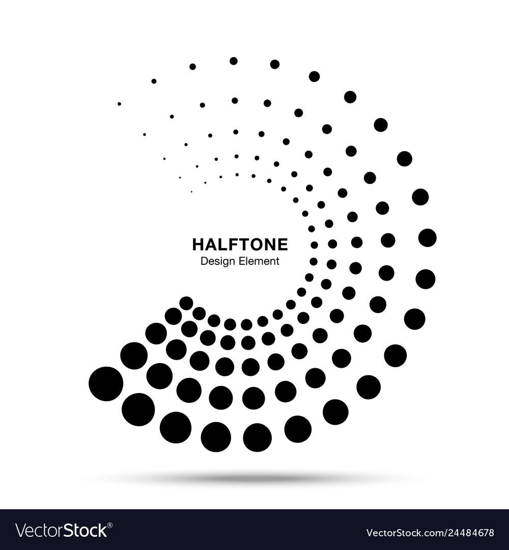 Halftone black circle frame dots logo emblem