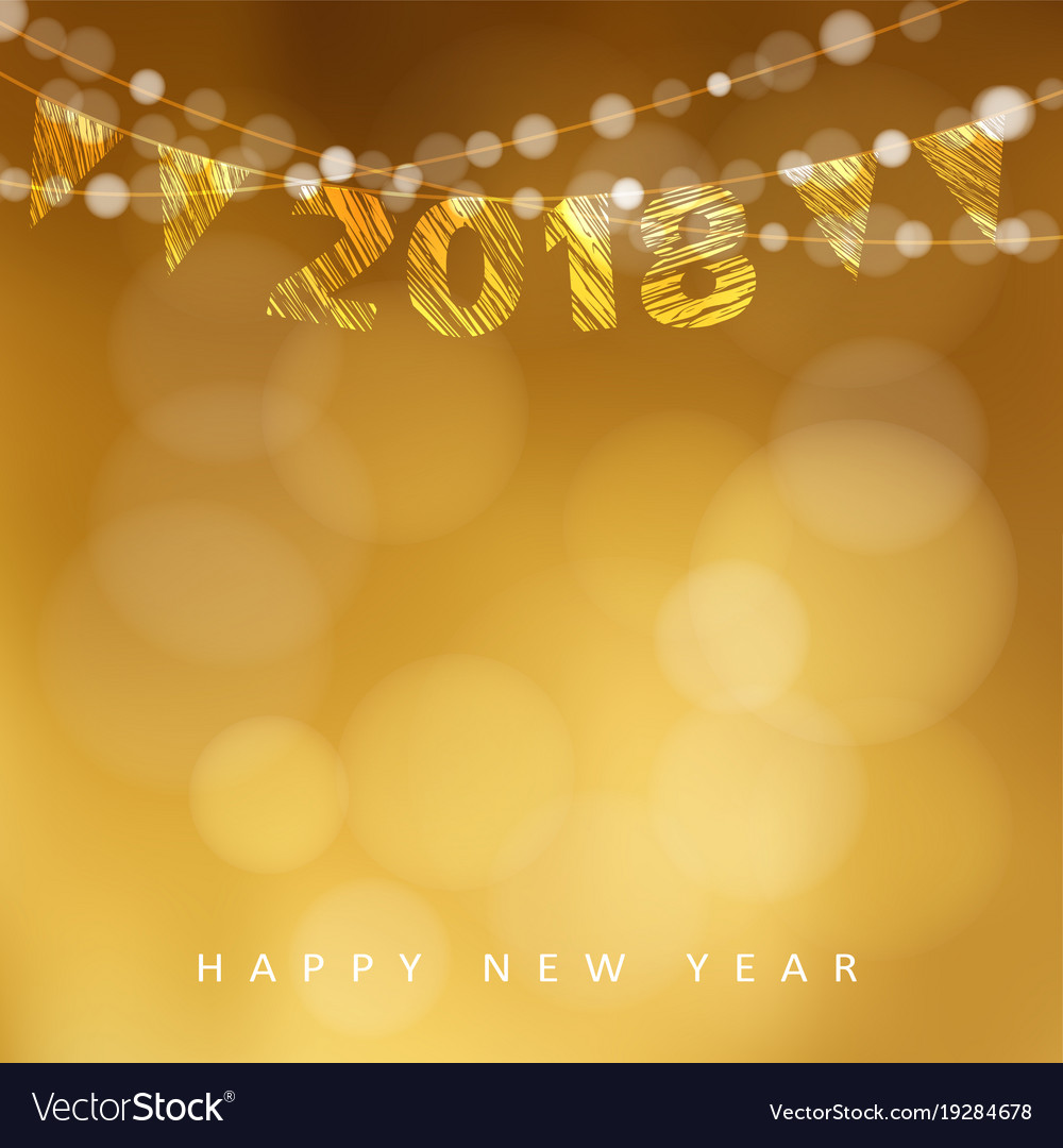 Happy new year greeting card with 2018 and