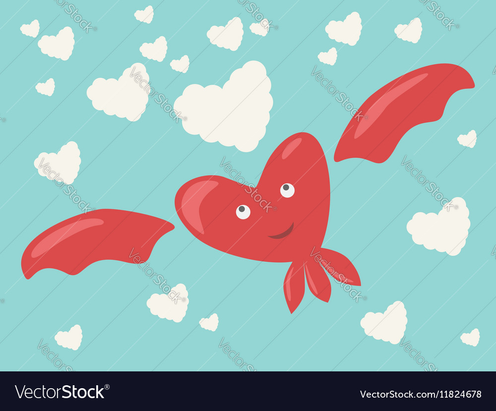Heart character and clouds vector image