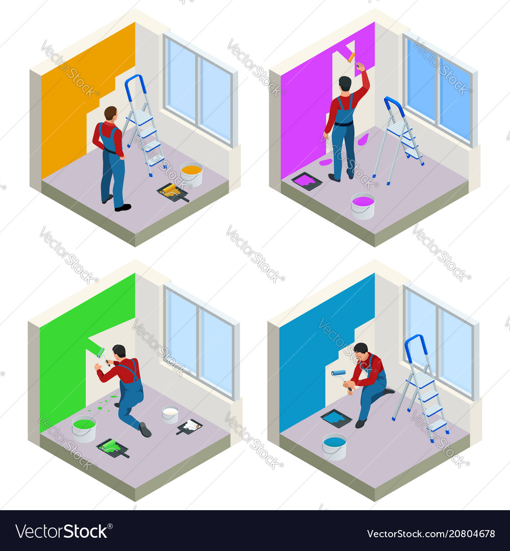 Home repair isometric concept set with workers