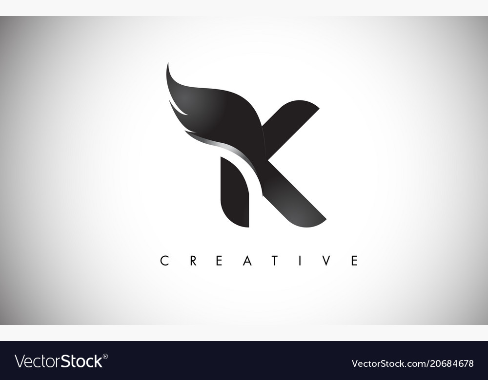 K Letter Wings Logo Design With Black Bird Fly