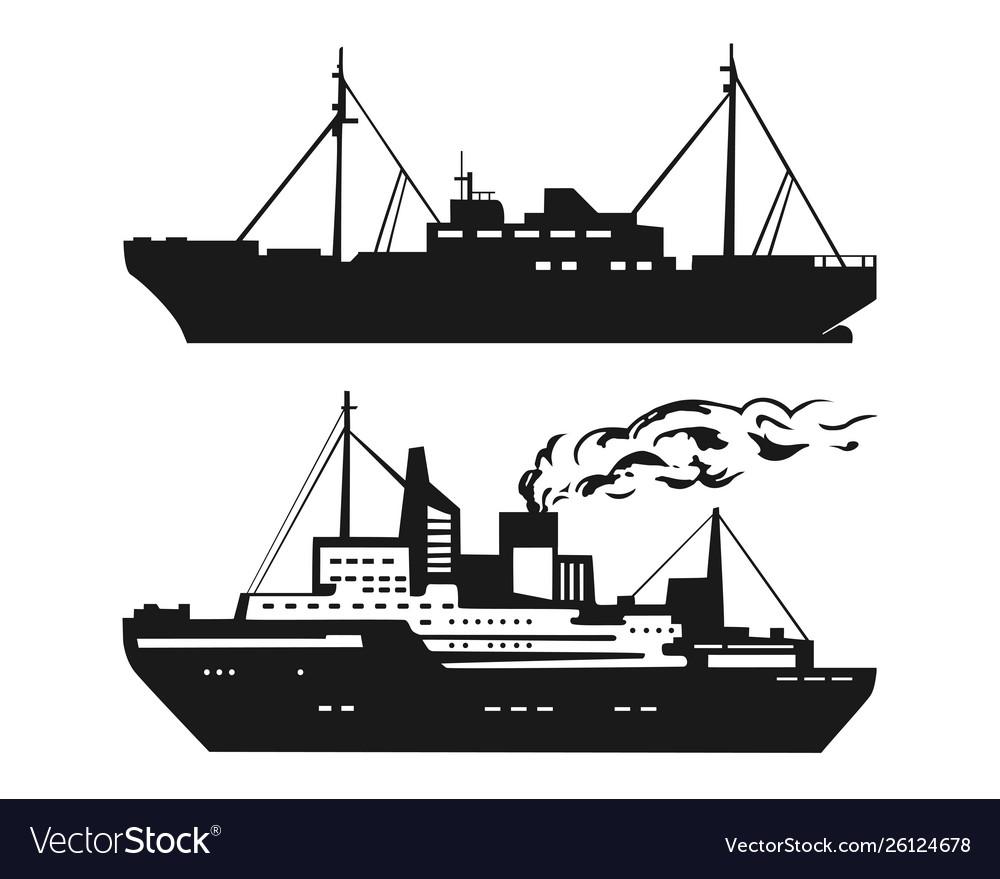 Motor ship silhouette set