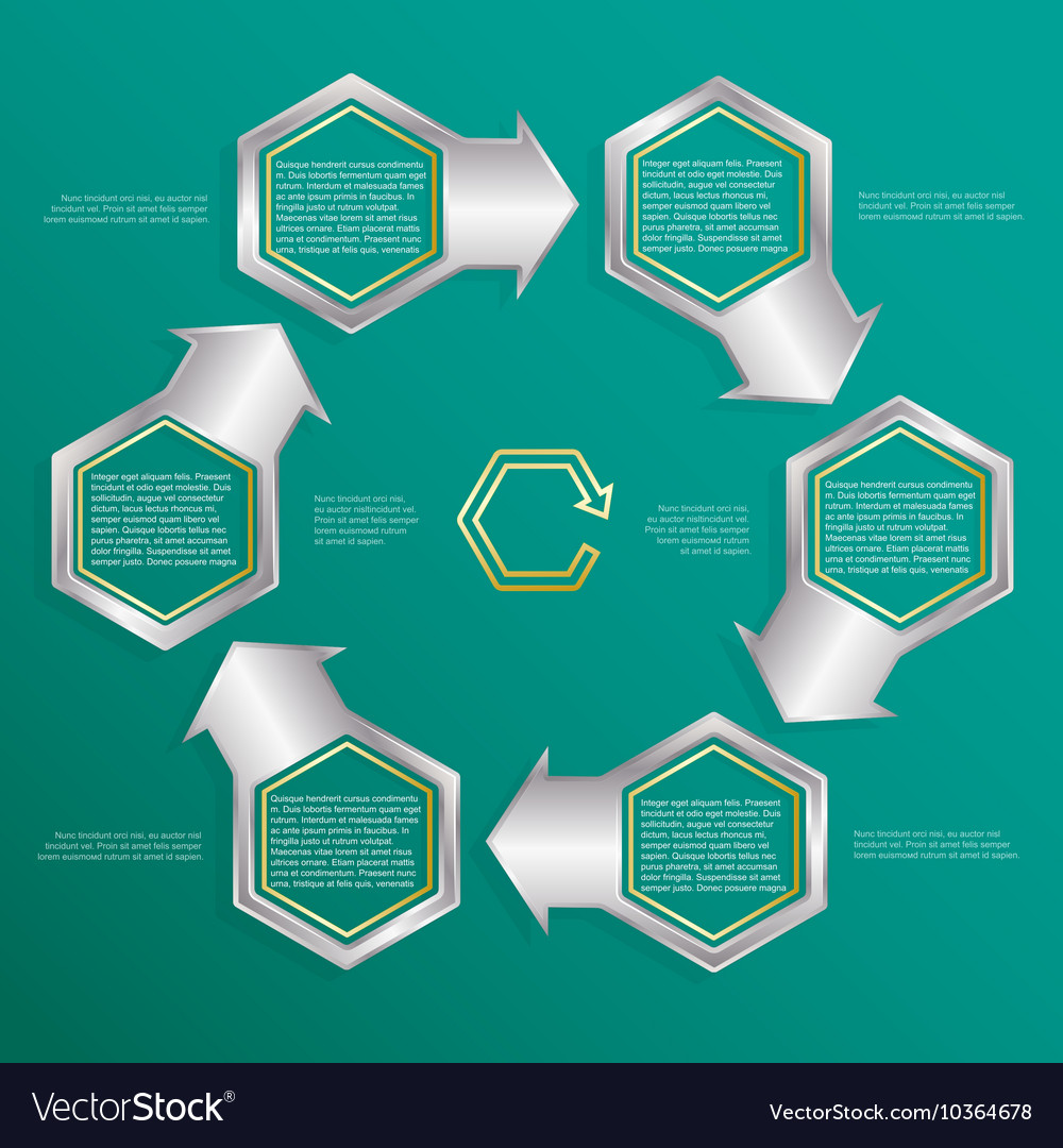 Six hexagonal frames for text or infographics