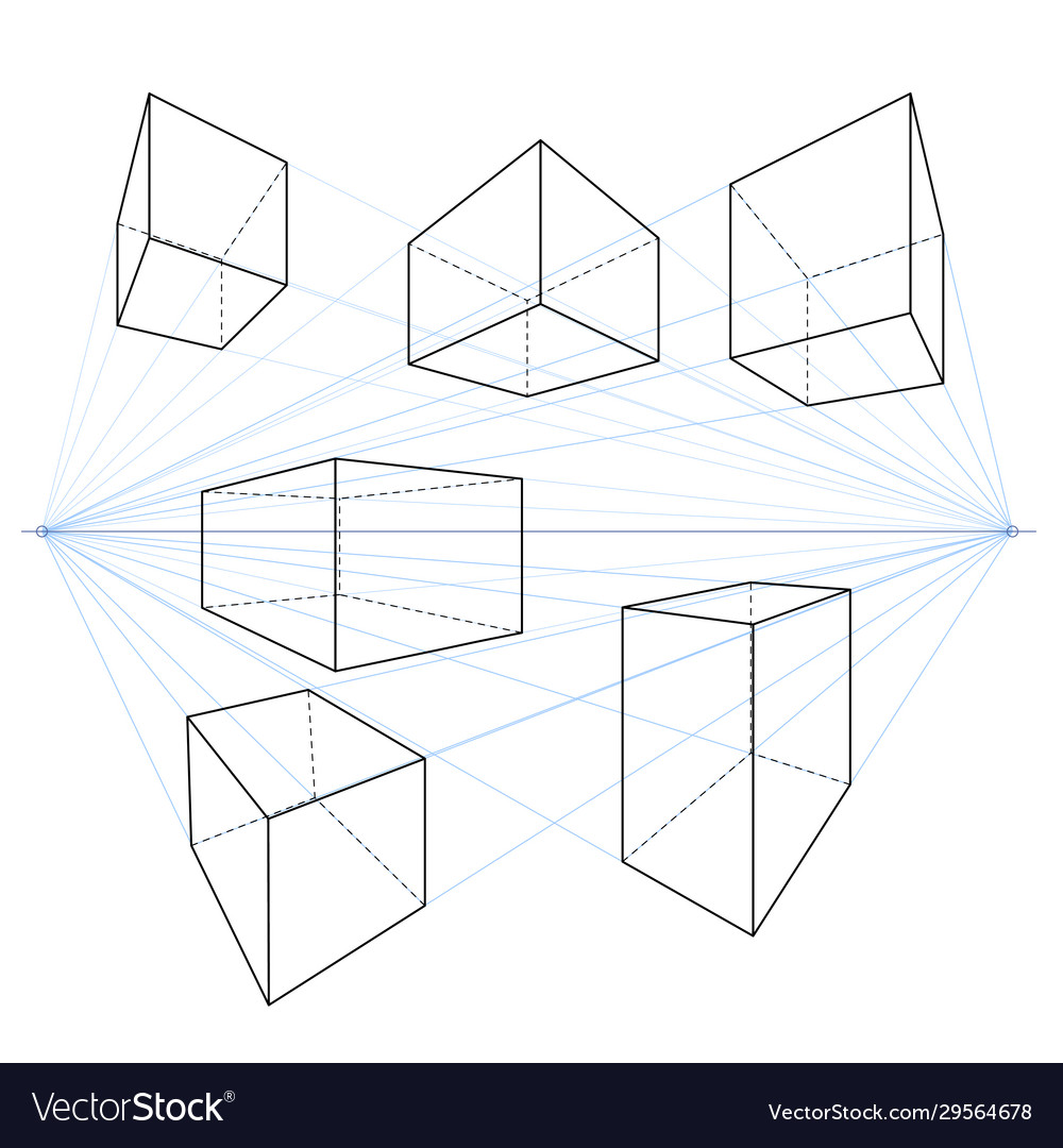 Two point perspective line drawings set cubes
