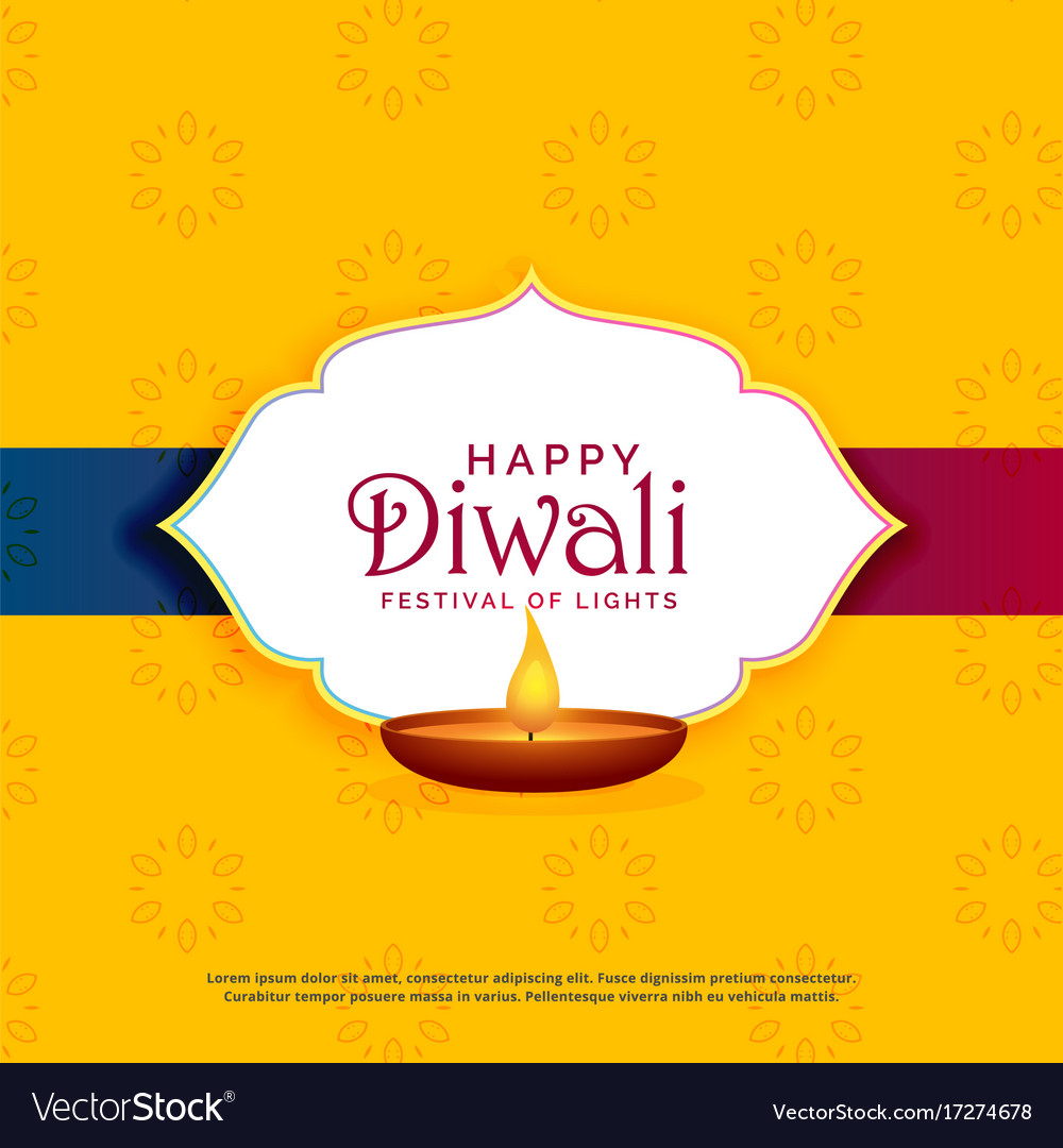 Yellow happy diwali greeting card design with diya yellow happy diwali greeting card design with diya vector image m4hsunfo