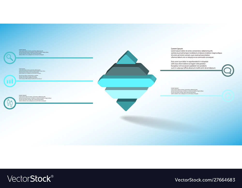 3d infographic template with embossed rhomb