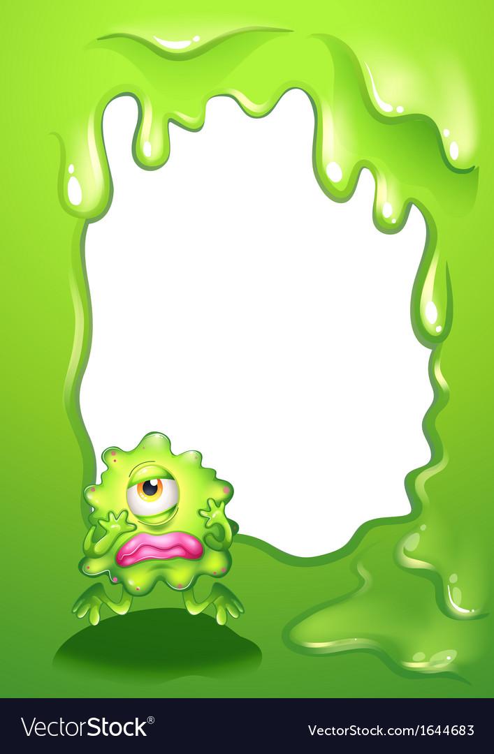 a green monster in a green border design vector image