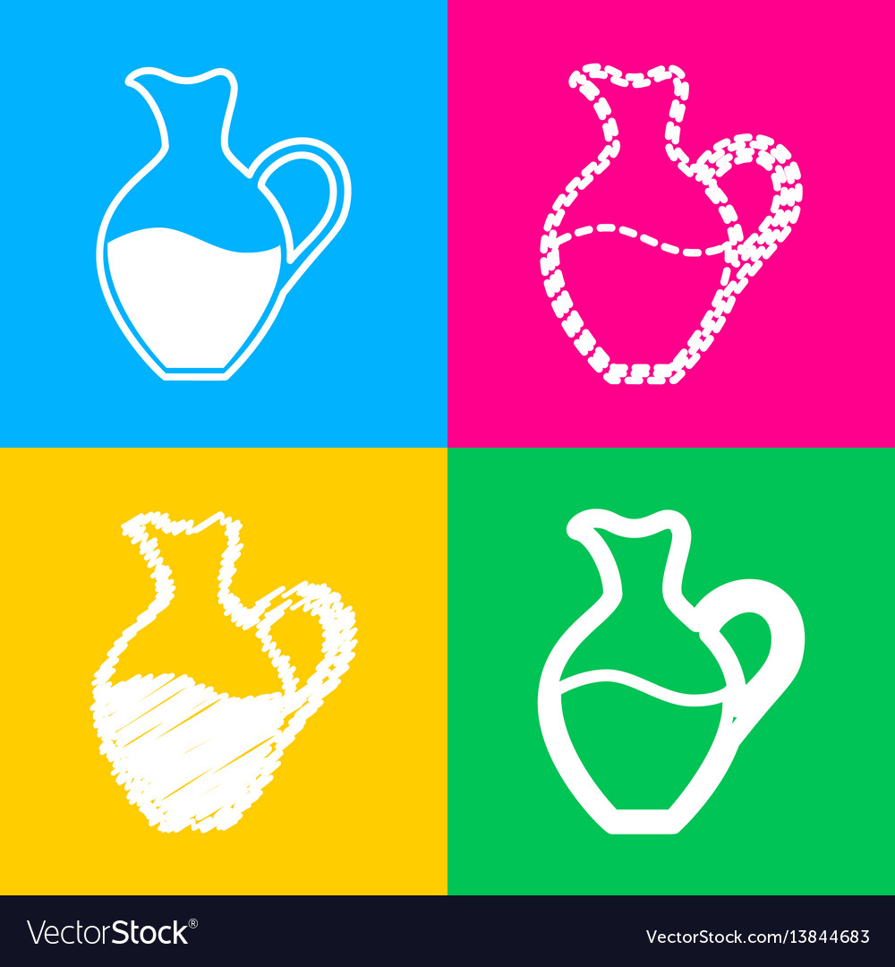 Amphora sign four styles of icon on four color