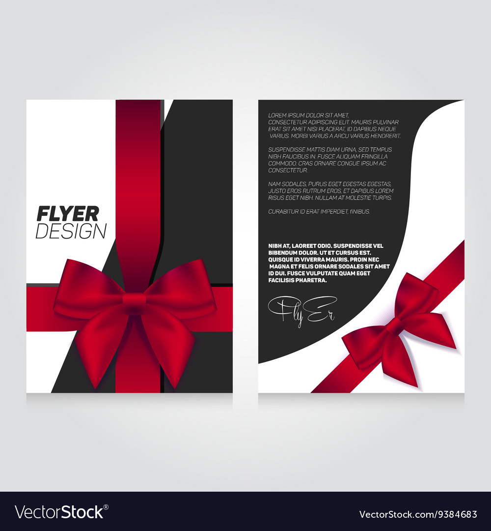 brochure flier design template with gift ribbon vector image