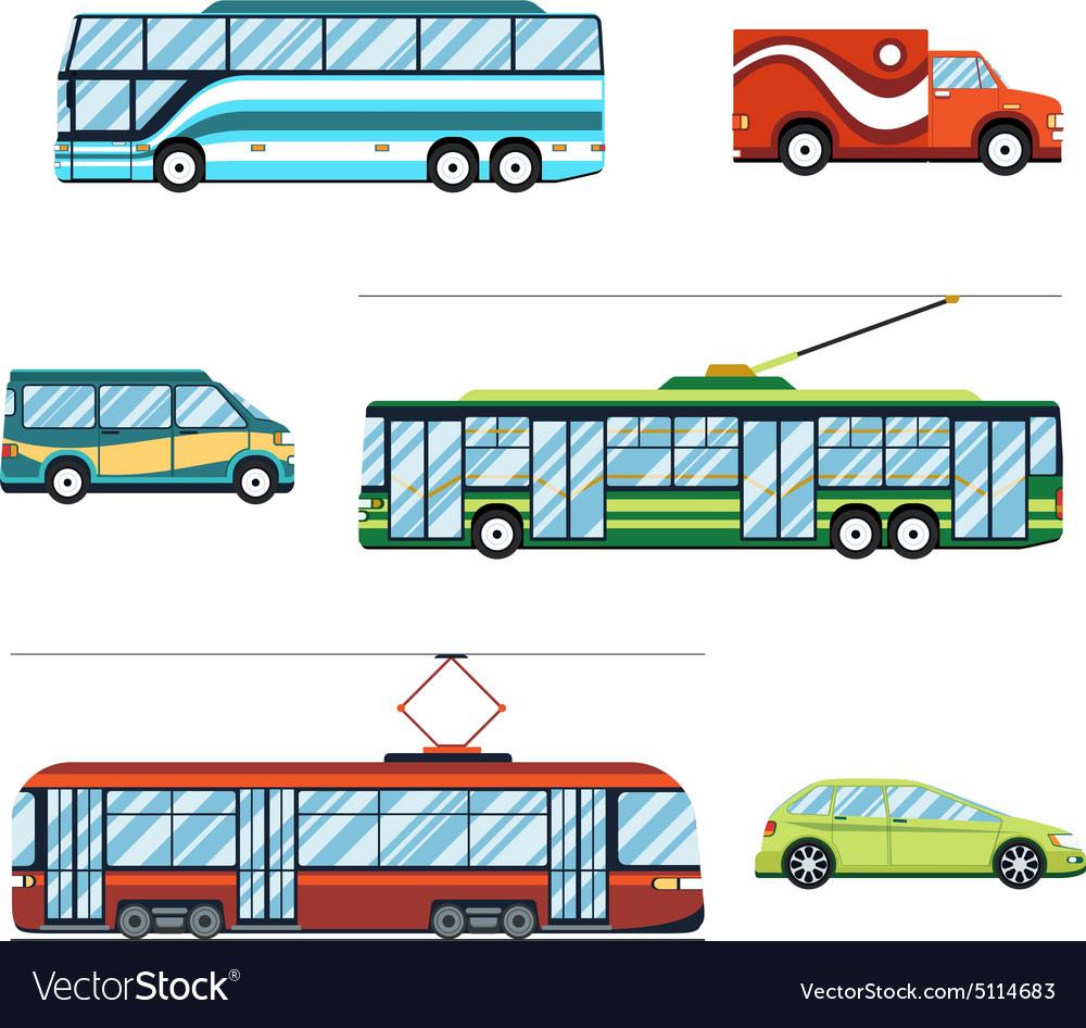 City transport flat icons