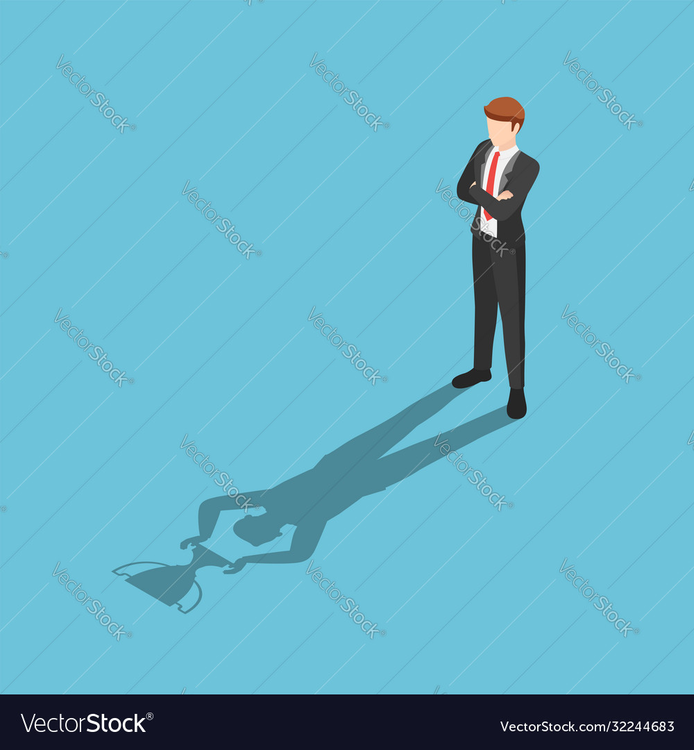Isometric businessman standing with his shadow