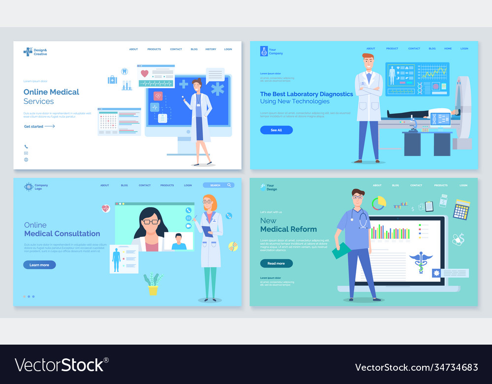 Medical sites templates various doctors stand on