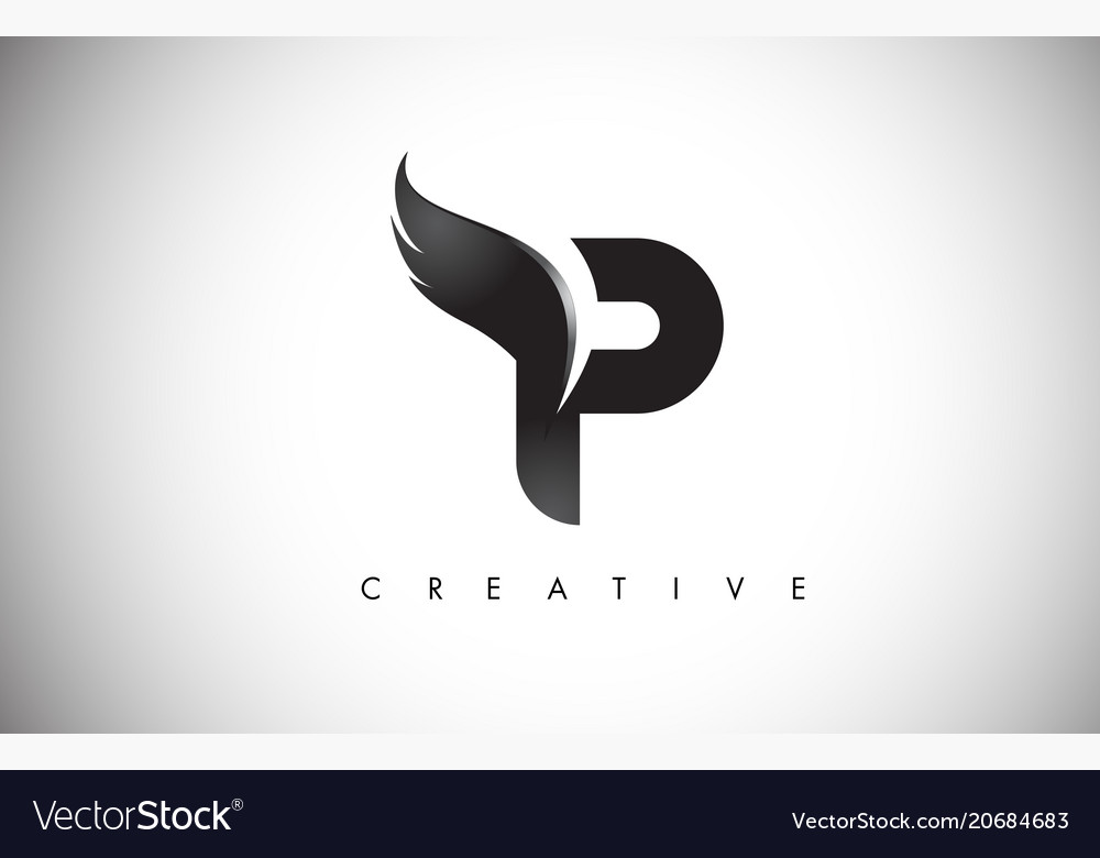 P letter wings logo design with black bird fly