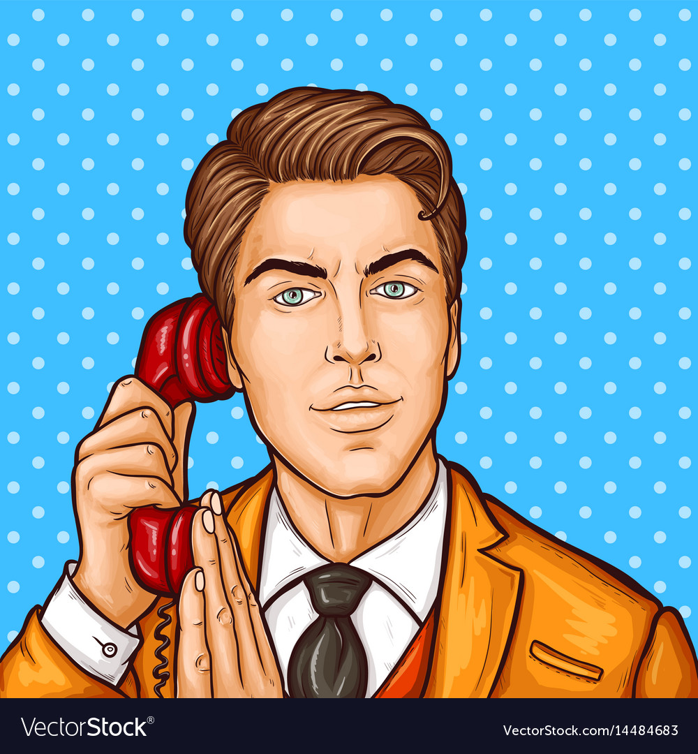 Pop art businessman talking on a retro phone and