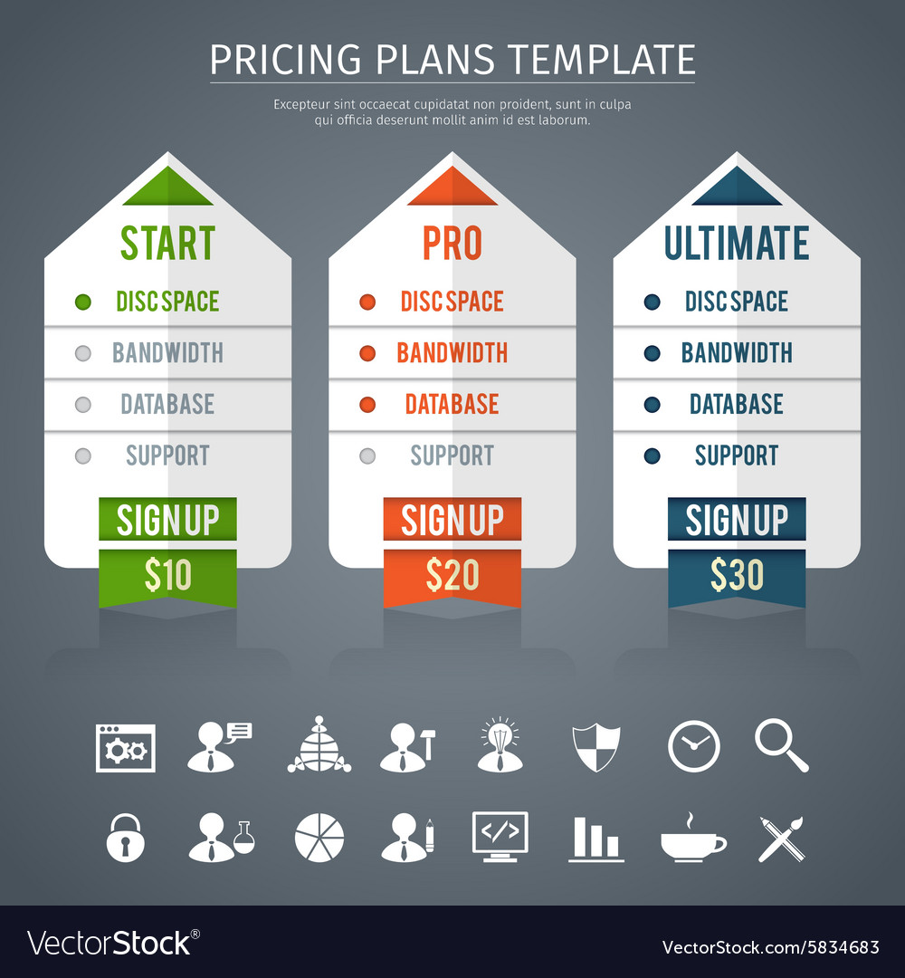 pricing plan template royalty free vector image