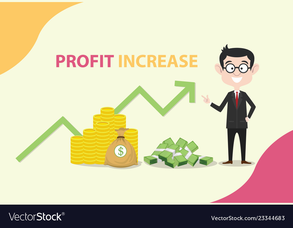 Profit increase with business man standing with