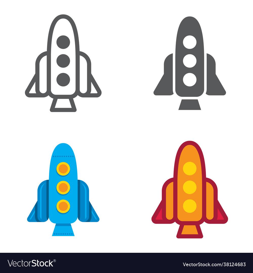 Rocket designed icons set