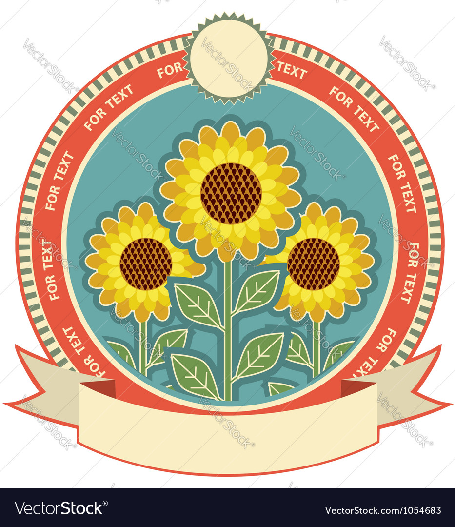 Sunflowers symbol background for text isolated on