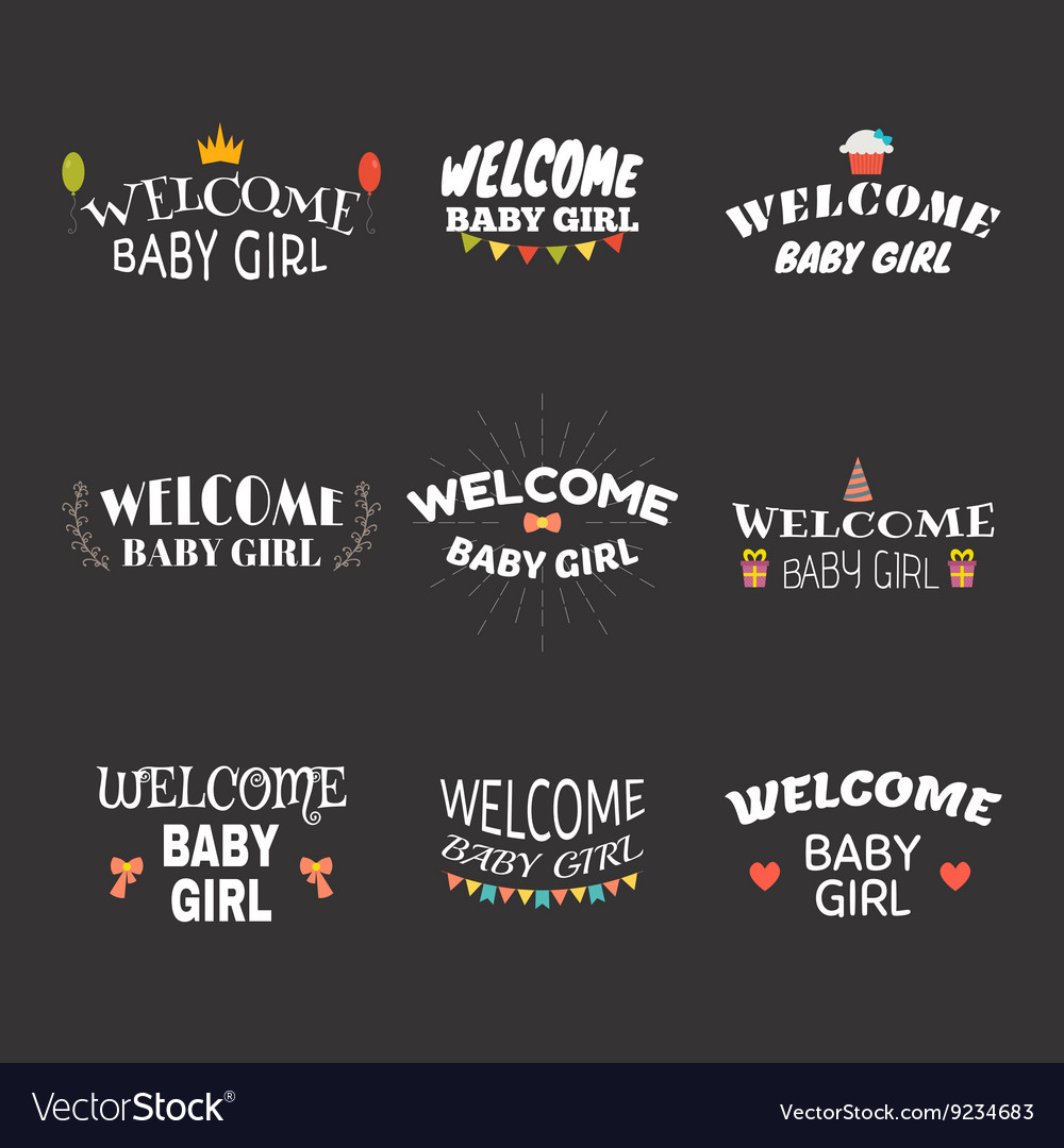 Welcome baby girl Baby girl arrival postcards Baby