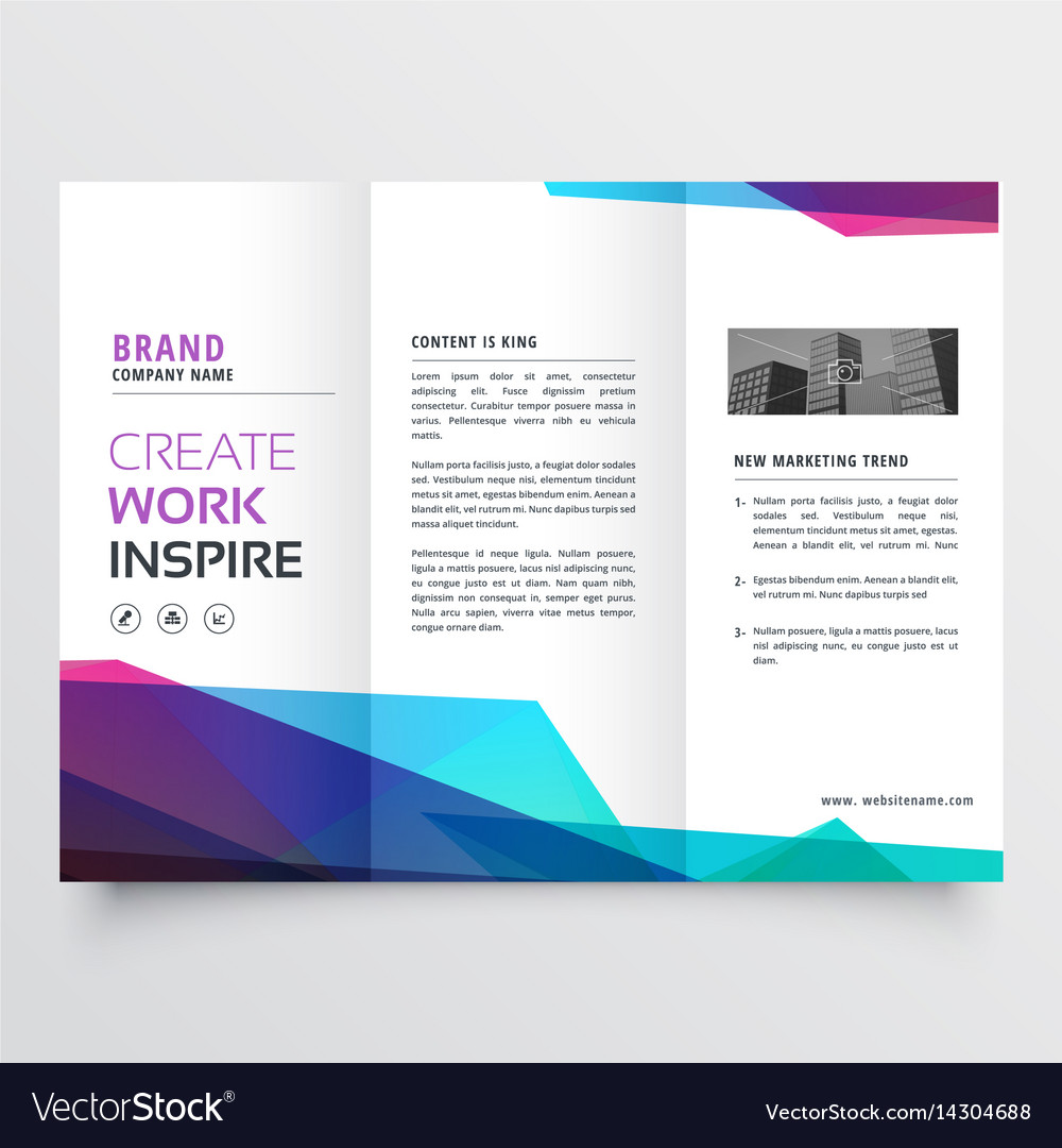 abstract colorful tri fold brochure design vector image