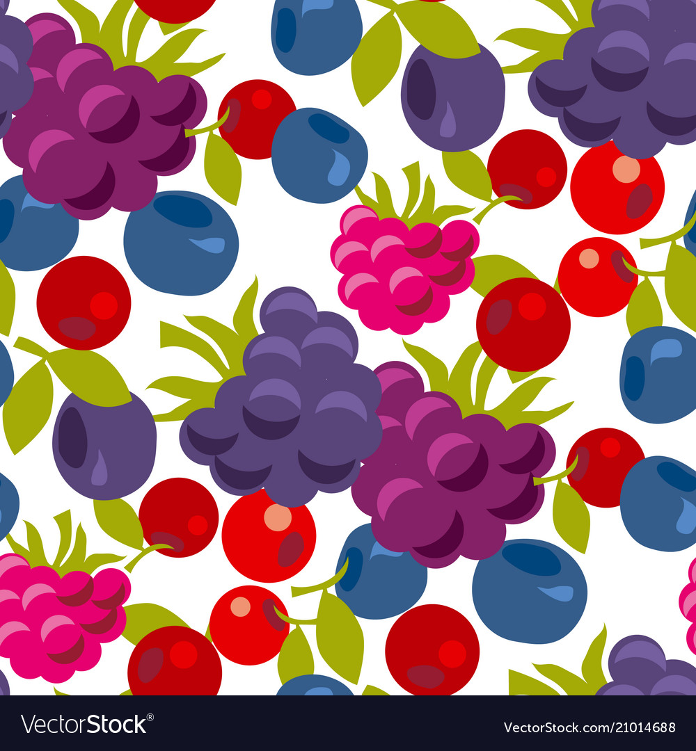 Assorted forest berries seamless pattern