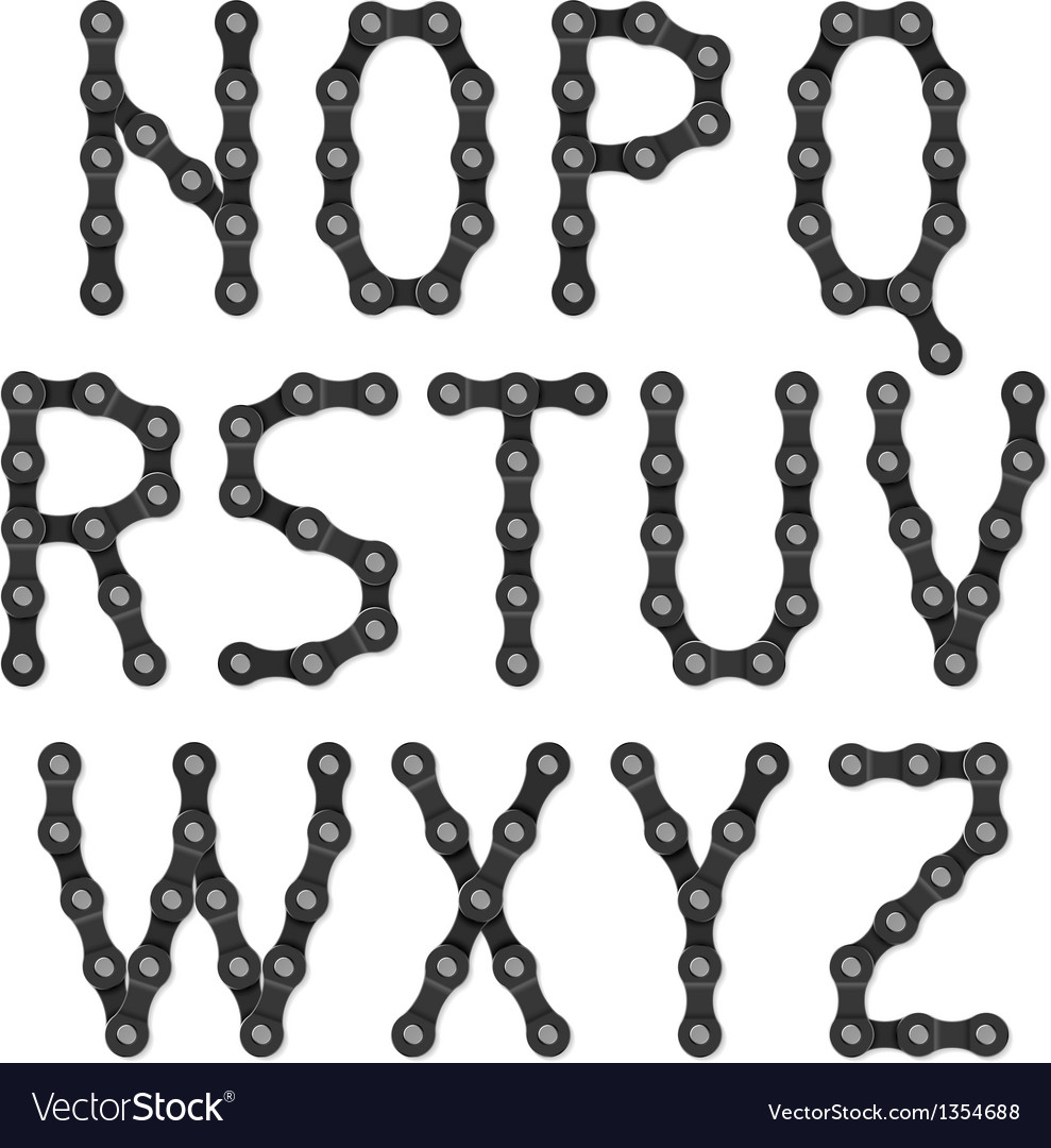 Bicycle chain alphabet vector image