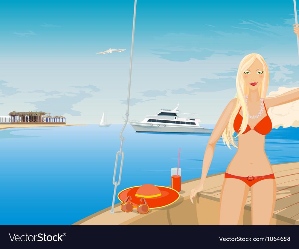 Blonde in bikini vector image