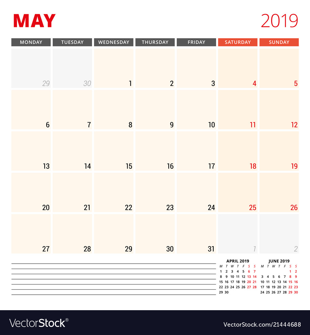 Calendar planner template for may 2019 week