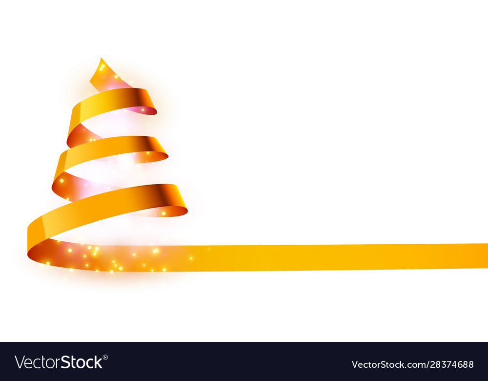 Christmas tree made golden ribbon background