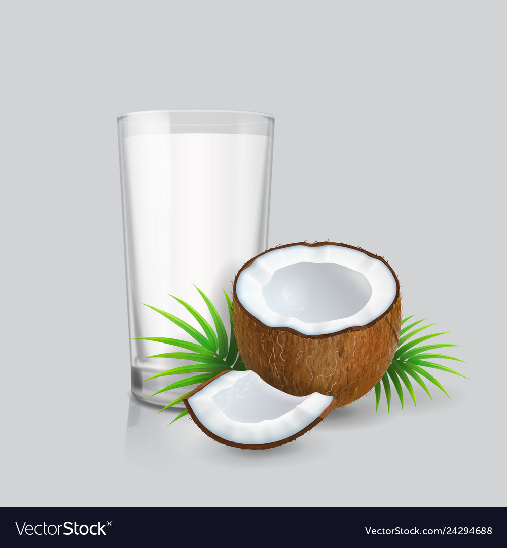 Coconut and realistic glass of coconut milk