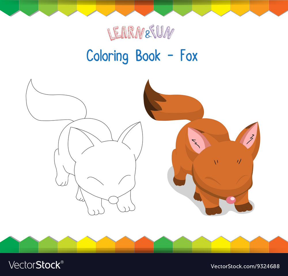 Fox coloring book educational game Royalty Free Vector Image