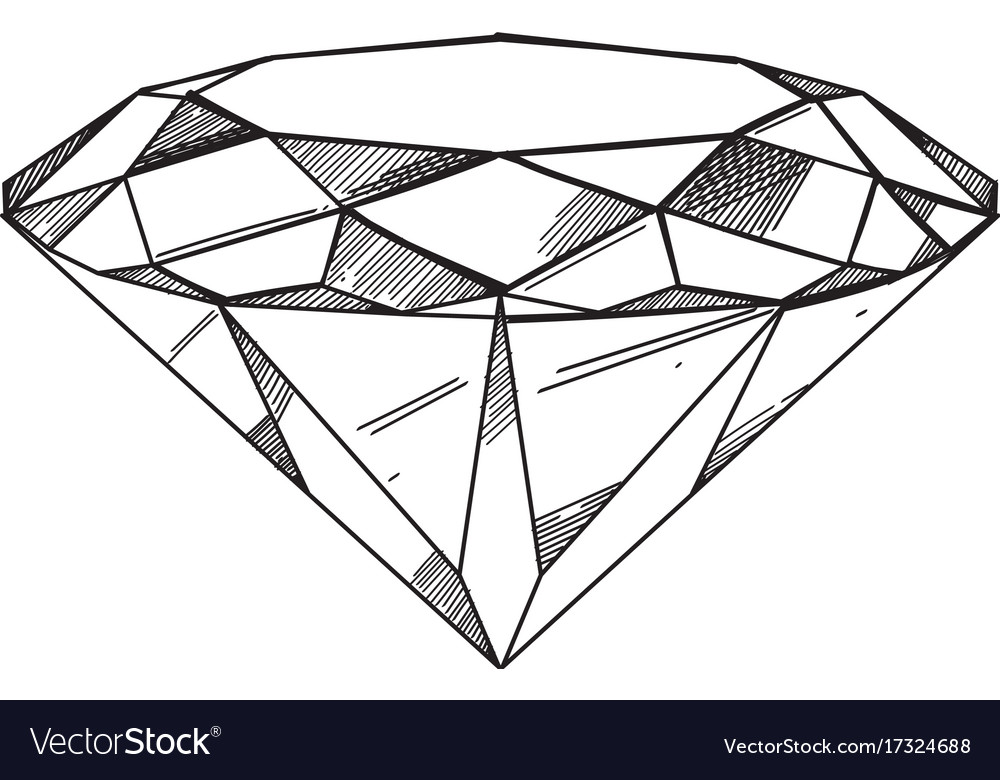 Hand Drawn Diamond Outline Isolated On White Vector Image Available in png and vector. vectorstock