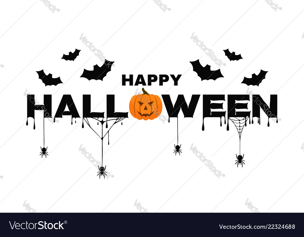 Happy halloween background text with pumpkin bats