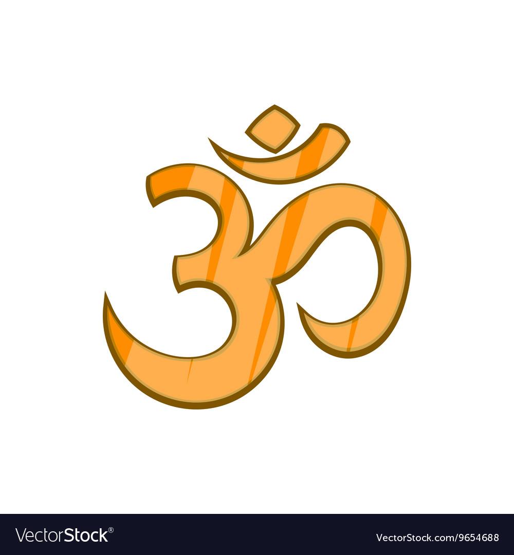 Hindu Om Symbol Icon In Cartoon Style Royalty Free Vector