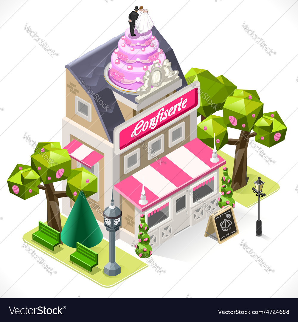 Pastry Shop City Building 3D Isometric