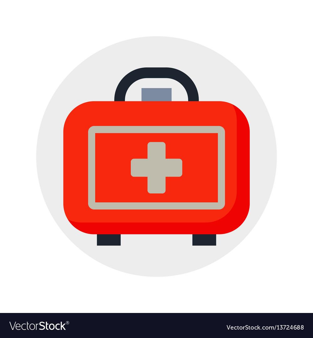 Safety car medical kit isolated on white