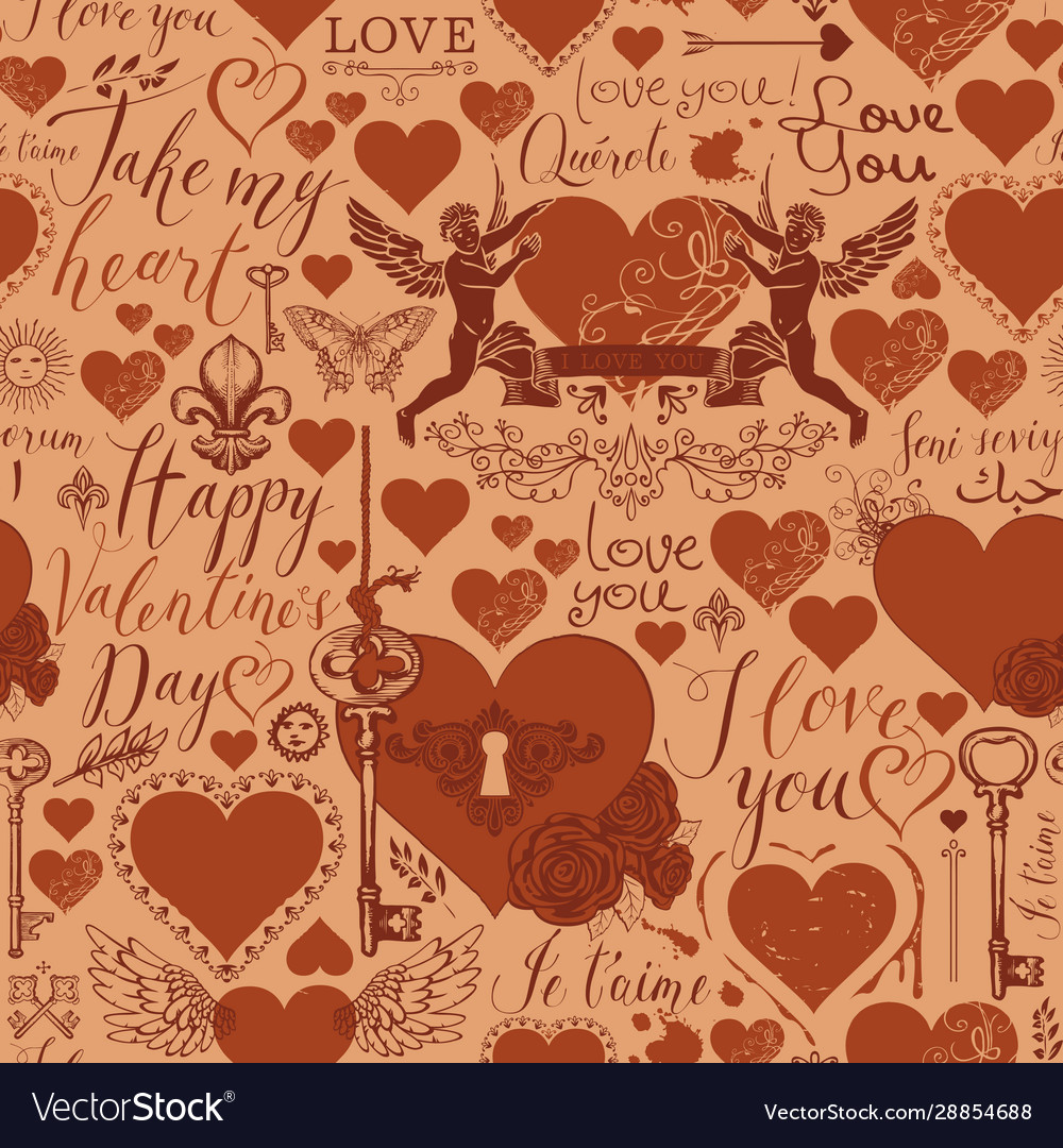 Seamless background on theme valentines day