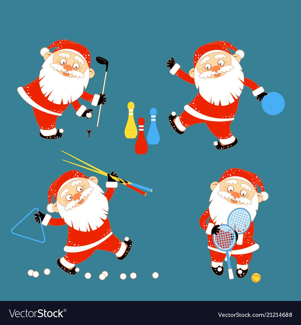 Set of santa claus playing sports games