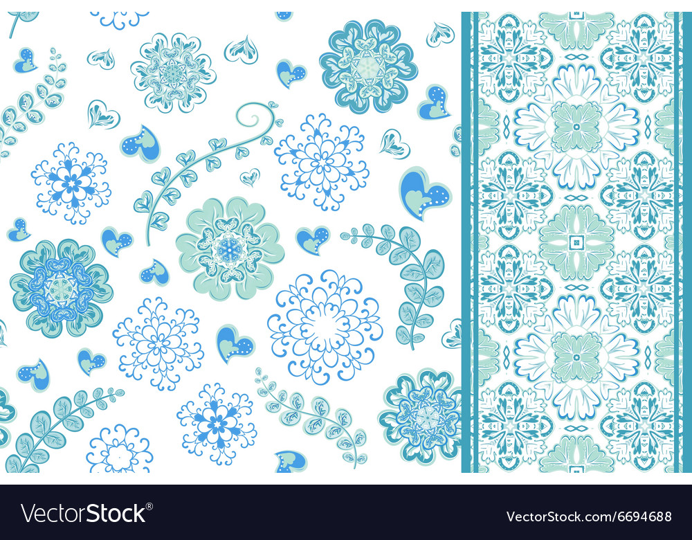 Set seamless pattern with flowers