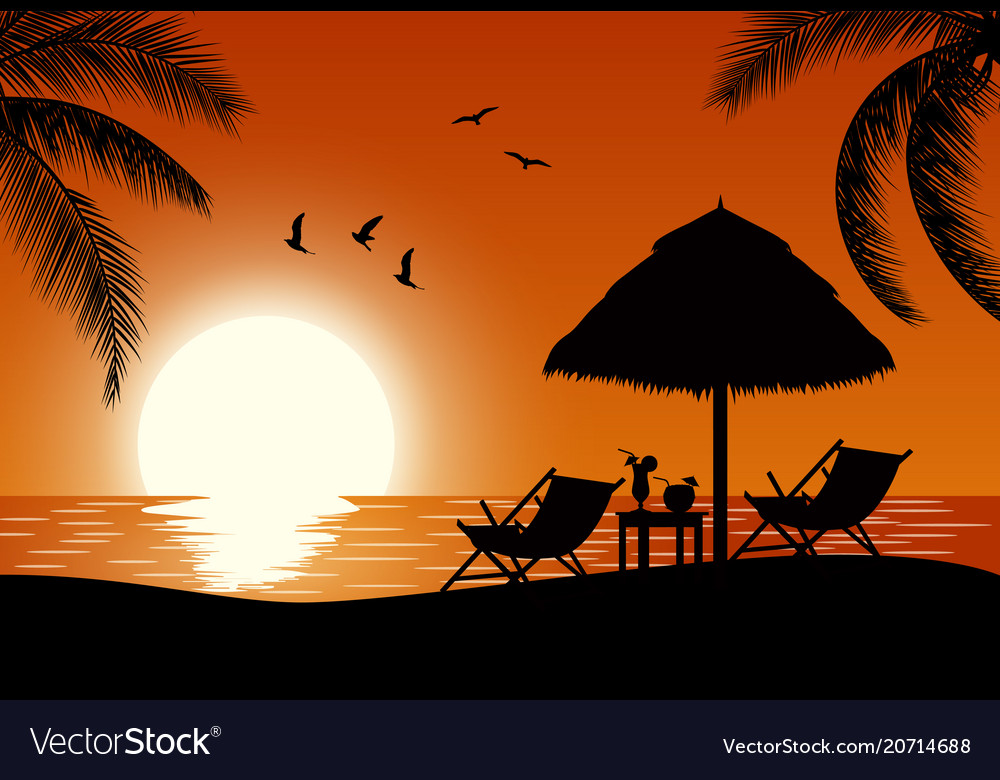 Silhouette of wooden chaise lounge vector image